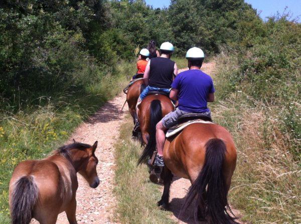 Paseo a caballo del Collverd en Montcortés, Lleida, España